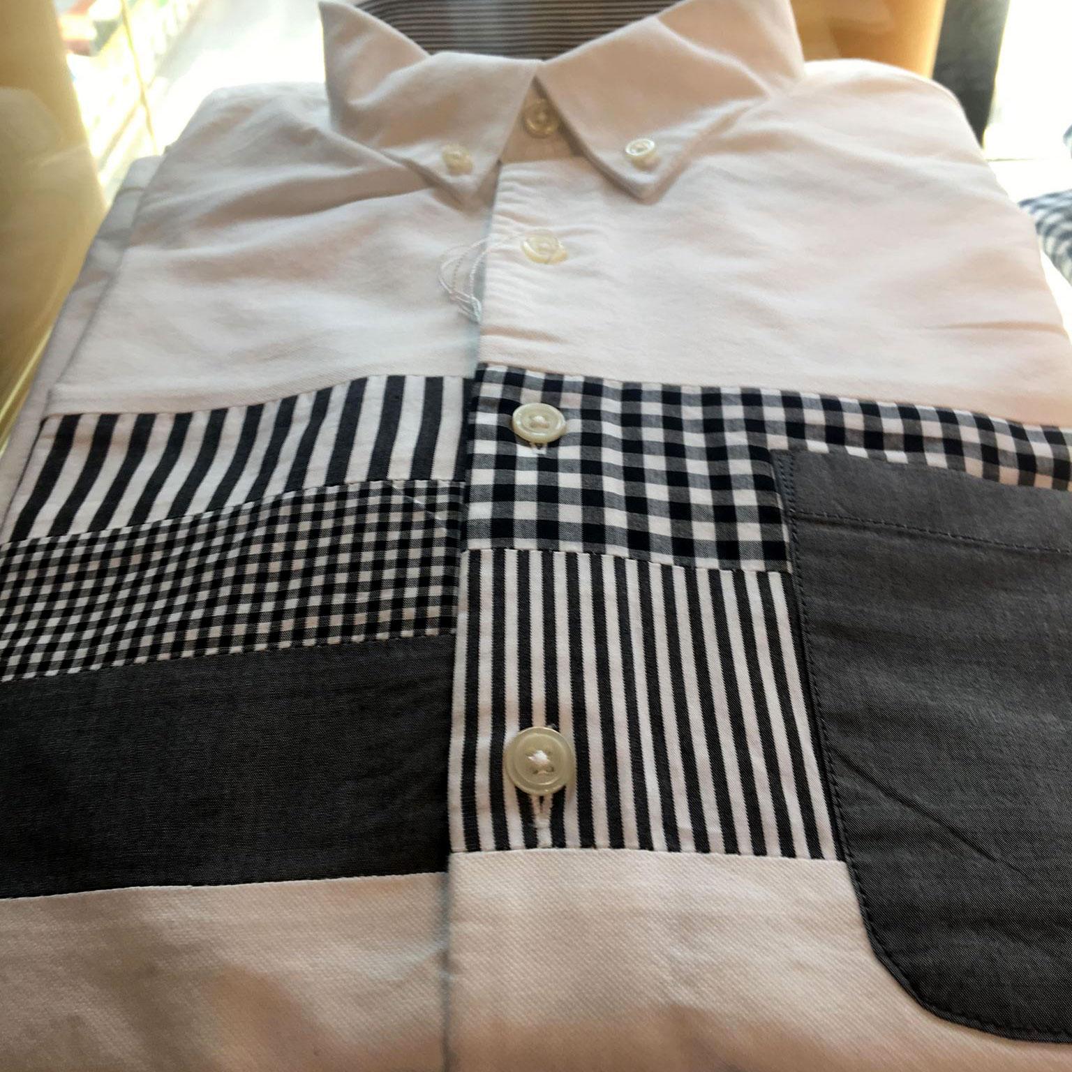 パッチワークのカジュアルシャツ